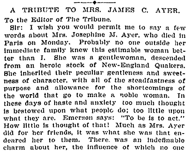 An article about Josephine Ayer, New York Tribune newspaper article 10 January 1898