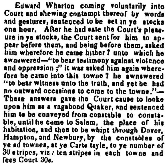 An article about Edward Wharton's punishment, Newburyport Herald newspaper article 27 June 1837