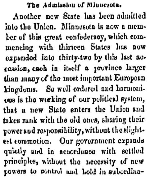 An article about Minnesota statehood, Patriot newspaper article 20 May 1858