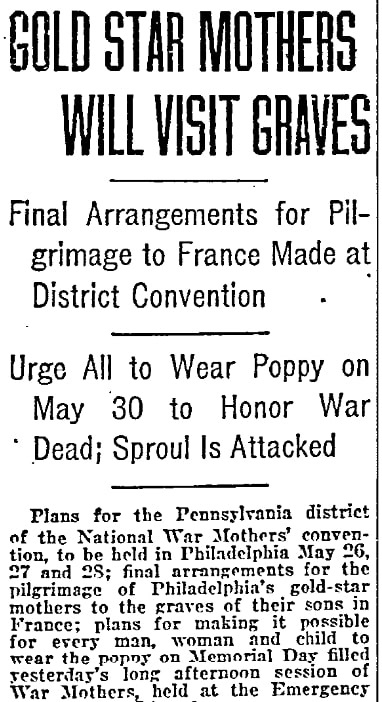 An article about Memorial Day, Philadelphia Inquirer newspaper article 15 April 1921
