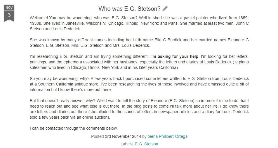 Screenshot of a blog post about E.G. (Eleanore) Stetson