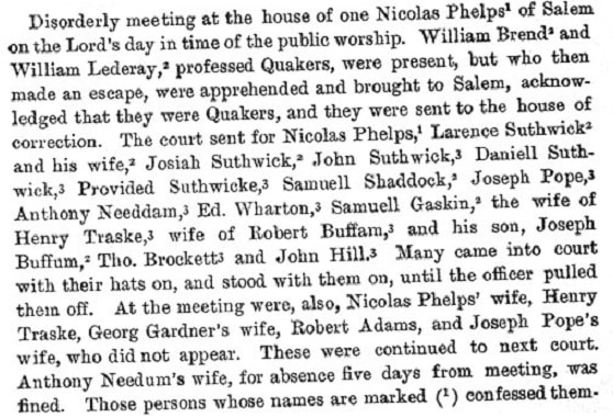 """Image: court document transcription citing disorderly meeting at the house of Nicholas Phelps, from """"Records and Files of the Quarterly Courts of Essex County, Volume 2"""" (p. 103)"""