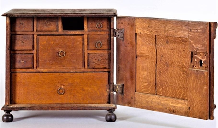 Photo: James Symonds (American, 1633-1714) valuables cabinet, 1679, made for Joseph Pope and Bathsheba Folger of Salem Village