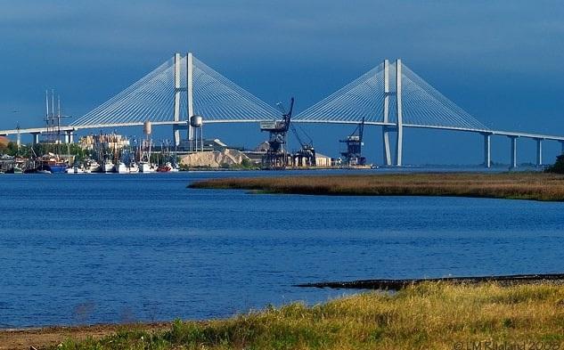 Photo: the Port of Brunswick, Georgia, and the Sidney Lanier Bridge