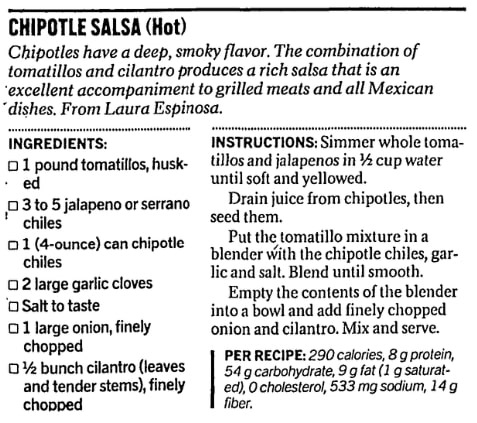 A chipolte salsa recipe, San Francisco Chronicle newspaper article 25 September 2002