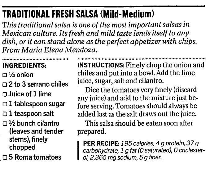 A traditional salsa recipe, San Francisco Chronicle newspaper article 25 September 2002