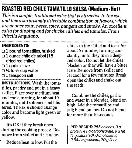 A red chile salsa recipe, San Francisco Chronicle newspaper article 25 September 2002