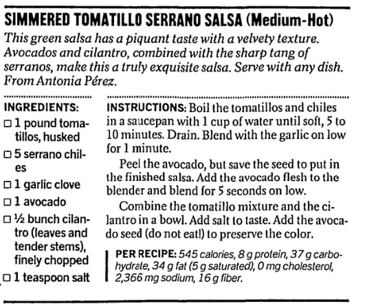 A tomatillo salsa recipe, San Francisco Chronicle newspaper article 25 September 2002