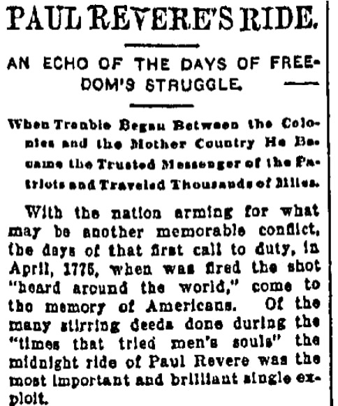 An article about Paul Revere, Trenton State Gazette newspaper article 8 June 1898