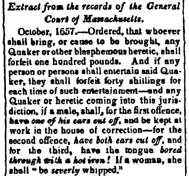 An article about Quaker persecution in the 17th century Massachusetts Bay Colony, Vermont Telegraph newspaper article 4 May 1842
