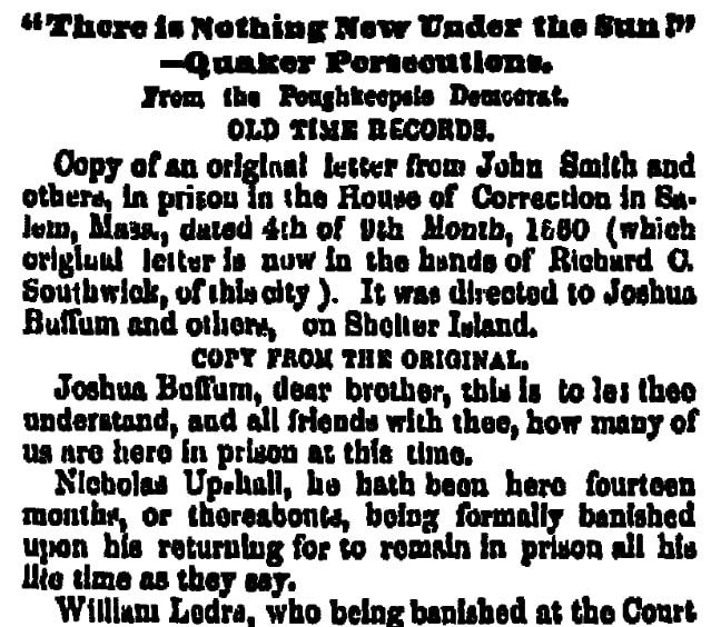 A Quaker letter written in 1660, Albany Evening Journal newspaper article 1 September 1854