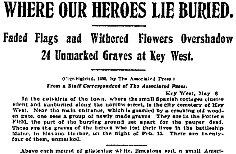 An article about unmarked graves, Boston Journal newspaper article 9 May 1898