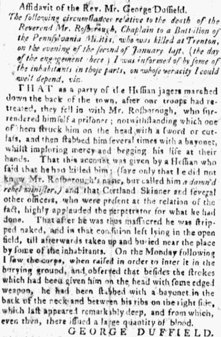 An article about the American Revolutionary War, Dunlap's Pennsylvania Packet newspaper article 29 April 1777