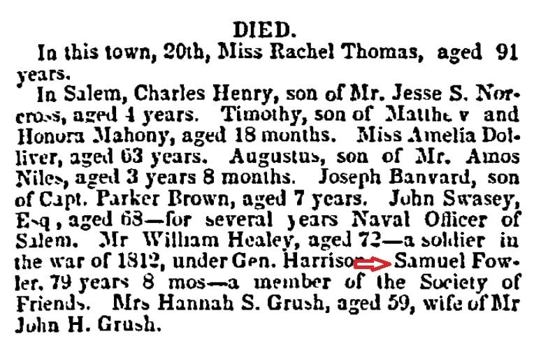 An obituary for Samuel Fowler, Gloucester Telegraph newspaper article 24 January 1849