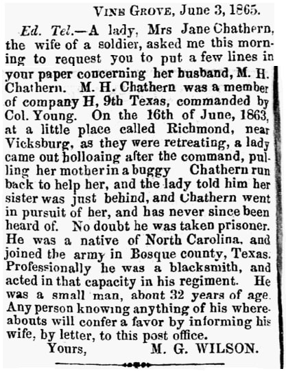 An article about the Chatham family, Houston Tri-Weekly Telegraph newspaper article 9 June 1865