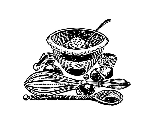 Illustration: mixing bowl and cooking utensils