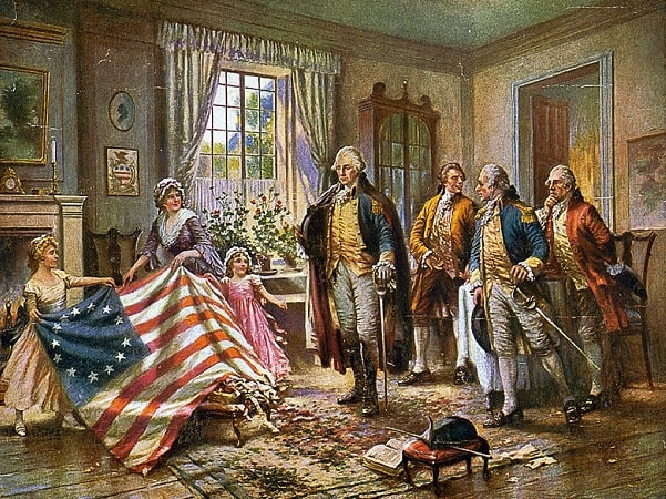 Illustration: depiction of the story of Betsy Ross presenting the first American flag to General George Washington, by Edward Percy Moran, c. 1917. Credit: Library of Congress, Prints and Photographs Division.