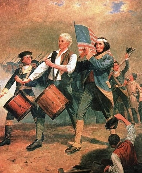 """Illustration: originally entitled """"Yankee Doodle,"""" this is one of several versions of a scene painted by Archibald Willard that came to be known as """"The Spirit of '76."""""""