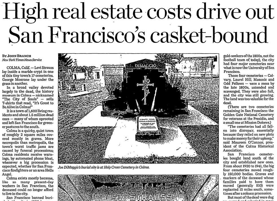 An article about cemeteries in Colma, California, Las Vegas Review-Journal newspaper article 14 February 2016