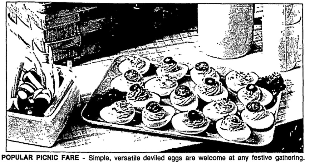 A photo of deviled eggs, Las Vegas Review-Journal newspaper article 13 July 1988