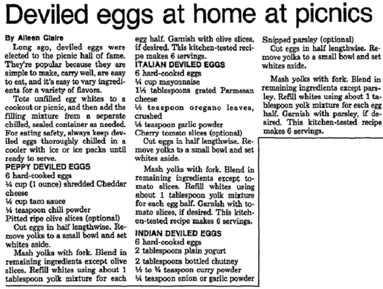 Recipes for deviled eggs, Las Vegas Review-Journal newspaper article 13 July 1988