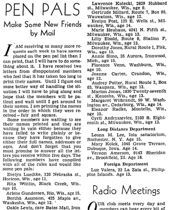 An article about pen pals, Milwaukee Journal newspaper article 17 January 1932