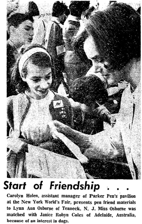 A photo from an article about pen pals, Morning Star newspaper article 17 September 1965