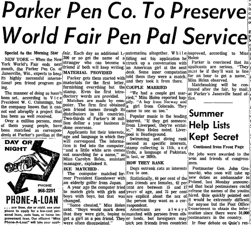 An article about pen pals, Morning Star newspaper article 17 September 1965