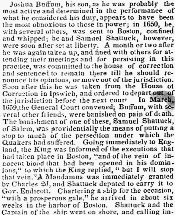 An article about Quakers, New-Bedford Mercury newspaper article 30 August 1839