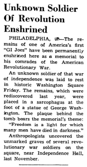 An article about the Tomb of the Unknown Revolutionary War Soldier, Nome Nugget newspaper article 1 July 1957