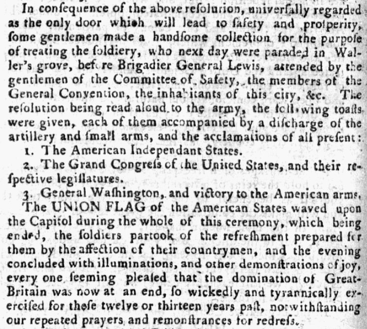An article about an Independence Day celebration in Virginia, Pennsylvania Evening Post newspaper article 28 May 1776