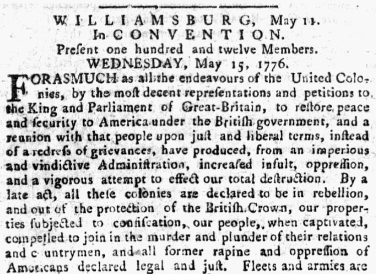 An article about a convention of independence-minded delegates in Virginia, Pennsylvania Evening Post newspaper article 28 May 1776