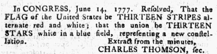 An article about the first American flag, Pennsylvania Evening Post newspaper article 30 August 1777