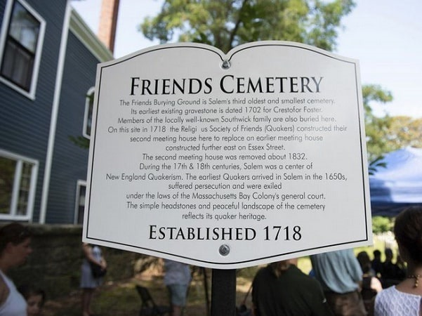 Photo: marker for the Friends Burial Ground on Essex Street in Salem, Massachusetts. Credit: Ryan McBride; Salem News.