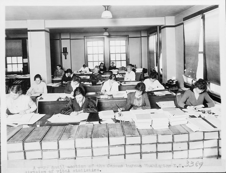 Photo: large office with women working at desks in the Division of Vital Statistics section of the Census Bureau, c. 1920