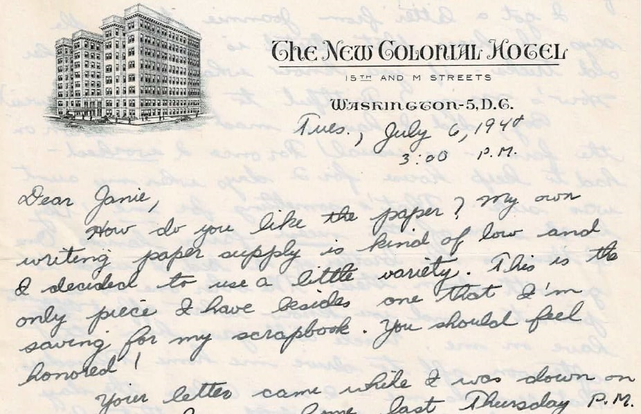 Photo: pen pal letter mailed from Boston on 6 July 1948 to a high school pen pal. Courtesy of collection of Christine Bard.