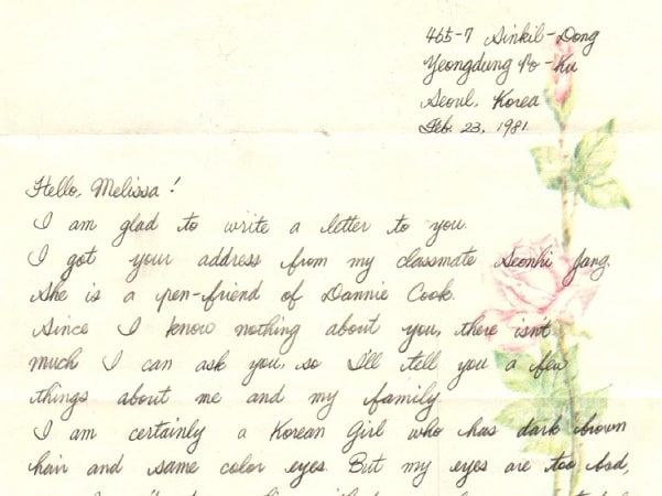 Photo: pen pal letter to Melissa Edwards from her Korean pen pal. Courtesy of Melissa Edwards.
