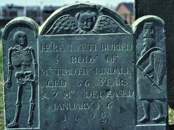 Photo: gravestone for Timothy Lindall, Burying Point Cemetery, 51 Charter Street, Salem, Massachusetts. Credit: Robert Buckley.