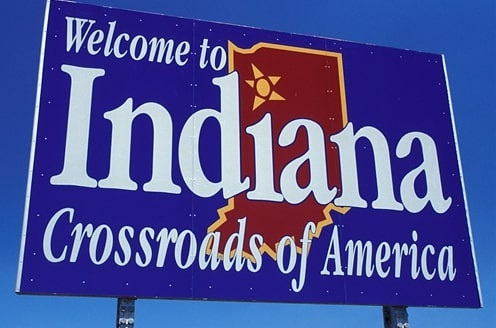 Photo: Indiana's state welcome signs, found on major routes entering the state
