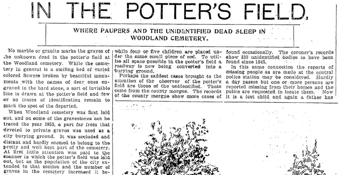 An article about cemeteries, Plain Dealer newspaper article 27 August 1899