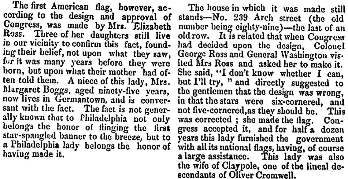 An article about Betsy Ross and the first American flag, Portsmouth Journal of Literature and Politics newspaper article 16 April 1870