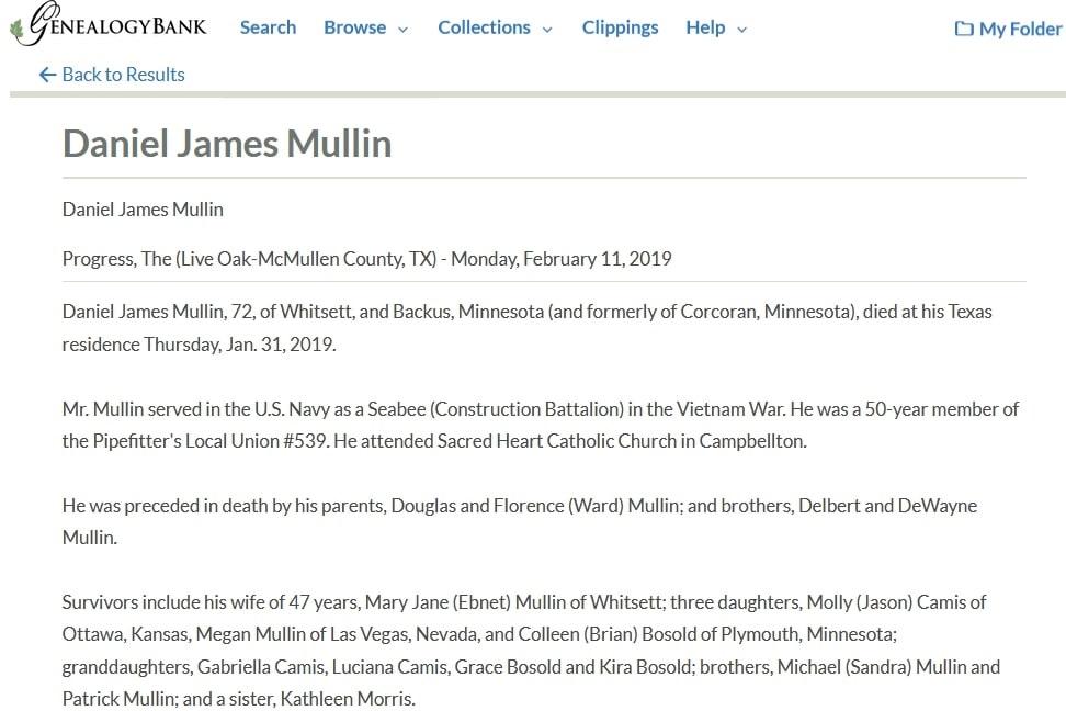 An obituary for Daniel Mullin, Progress newspaper article 11 February 2019