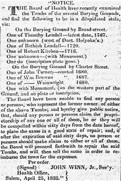 An article about tombs in Salem, Massachusetts, Salem Gazette newspaper article 25 April 1835