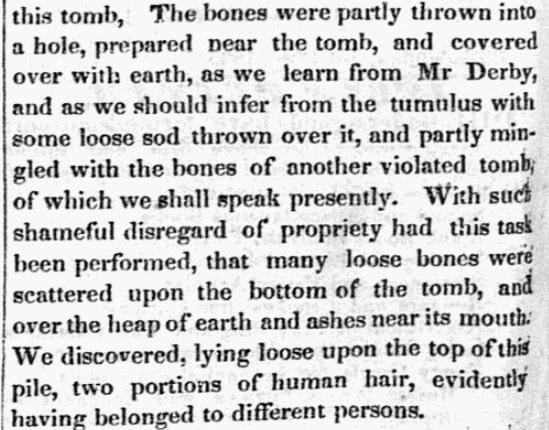 An article about tombs in Salem, Massachusetts, Salem Gazette newspaper artlicle 15 September 1835