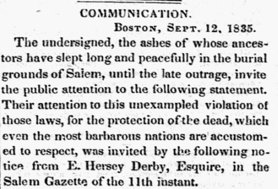 The introduction to an article about tombs in Salem, Massachusetts, Salem Gazette newspaper artlicle 15 September 1835