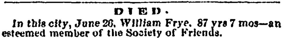 An obituary for William Frye, Salem Register newspaper article 30 June 1862