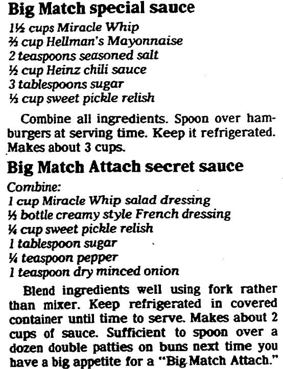 Recipes for hamburger sauce, State Journal-Register newspaper article 14 April 1982