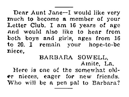 An article about pen pals, Times-Picayune newspaper article 27 January 1929