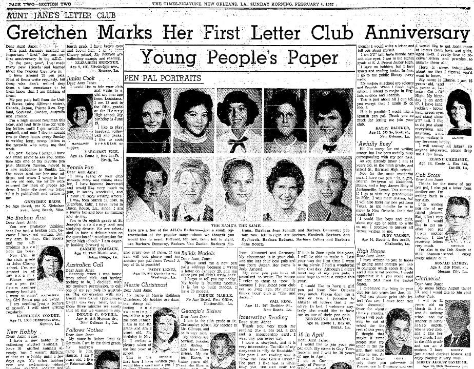 An article about pen pals, Times-Picayune newspaper article 4 February 1962