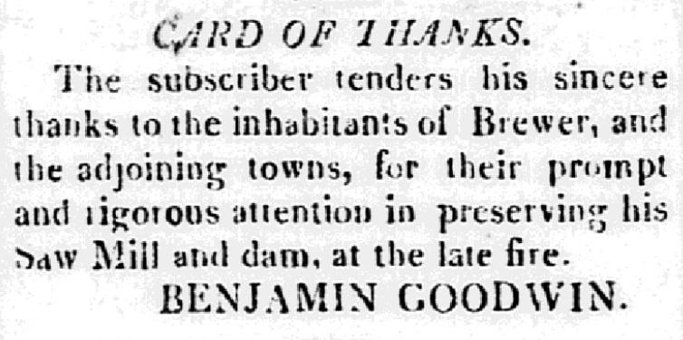 "A ""Card of Thanks,"" Bangor Weekly Register newspaper article 13 November 1823"